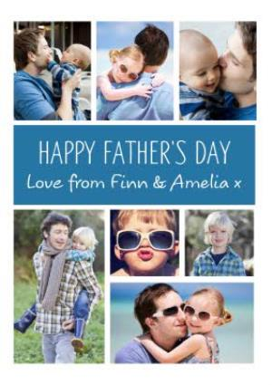 Greeting Cards - Blue Vertical And Horizontal Grid Photo Upload Happy Father's Day Card - Image 1