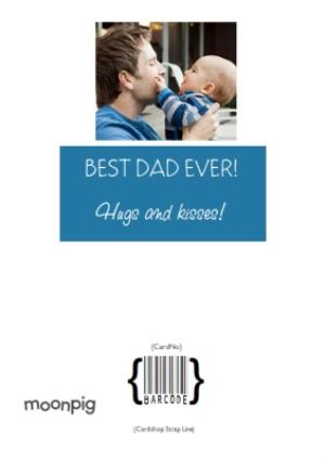 Greeting Cards - Blue Vertical And Horizontal Grid Photo Upload Happy Father's Day Card - Image 4