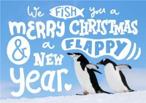 greeting cards a flappy new year penguin christmas card image 1