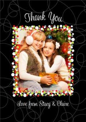 Greeting Cards - Fairy Light Border Personalised Photo Upload Thank You Christmas Card - Image 1