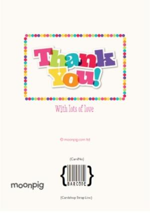 Greeting Cards - Bright Lettering And Bobble Border Personalised Photo Upload Thank You Card - Image 4