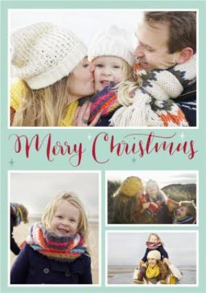 Greeting Cards - Mint And Red Writing Personalised Photo Upload Merry Christmas Card - Image 1
