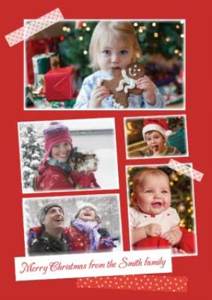 Greeting Cards - Festive Taped Multi-Photo From The Family Christmas Card - Image 1