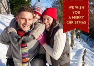 Greeting Cards - Christmas Red Tag Photo Upload Card - Image 1