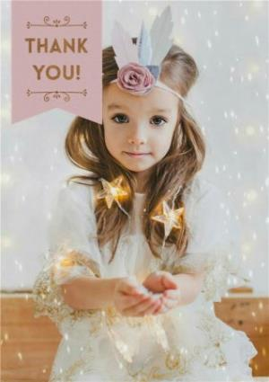 Greeting Cards - Fairy Lights Photo Upload Thank You Christmas Card - Image 1