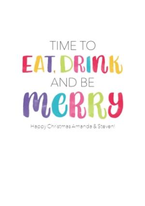 Greeting Cards - Eat, Drink And Be Merry Personalised Christmas Card - Image 1