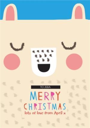 Greeting Cards - Cartoon Teddy Bear Personalised Merry Christmas Card - Image 1