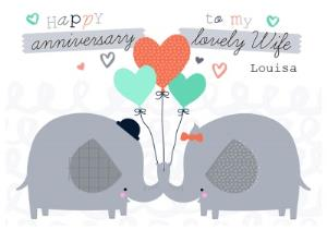 Greeting Cards - Elephants With Balloons Personalised Happy Anniversary Card For Wife - Image 1