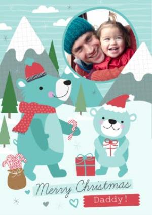 Greeting Cards - Bear Outing Festive Scene Personalised Photo Upload Merry Christmas Card For Daddy - Image 1