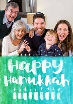 Greeting Cards - Bright Watercolour Personalised Happy Hanukkah Photo Card - Image 1