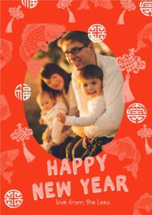 Greeting Cards - Red Fish Patterned Personalised Photo Upload Chinese New Year Card - Image 1