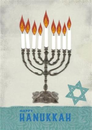 Greeting Cards - Candelabra And Star Of David Personalised Happy Hanukkah Card - Image 1