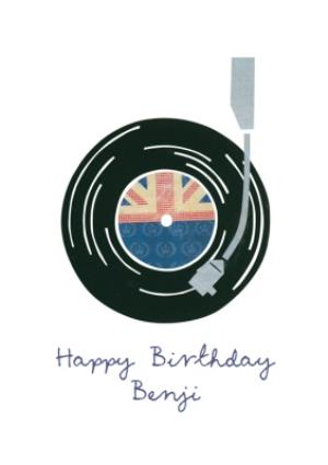 Greeting Cards - British Record Player Personalised Happy Birthday Card - Image 1