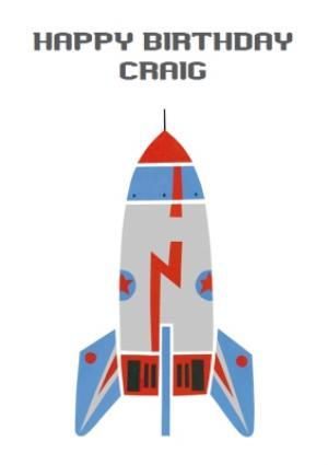 Greeting Cards - Cartoon Rocketship Personalised Kids Birthday Card - Image 1