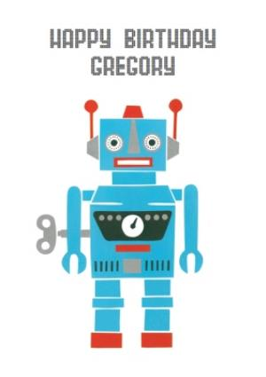 Greeting Cards - Wind Up Robot Personalised Happy Birthday Card - Image 1