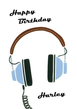 Greeting Cards - Retro Headphones Personalised Happy Birthday Card - Image 1