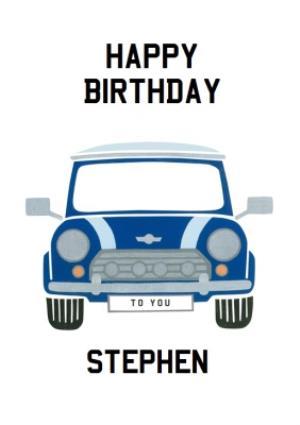 Greeting Cards - Personalised Vintage Mini Cooper Birthday Card - Image 1