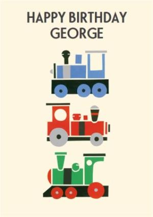 Greeting Cards - Colourful Trains Personalised Happy Birthday Card - Image 1