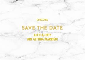 Greeting Cards - Metallic Gold And Marble Save The Date Wedding Cards - Image 1