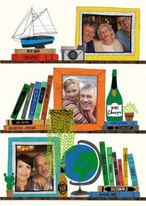 Greeting Cards - Bookshelf And Plants Photo Upload Card - Image 1