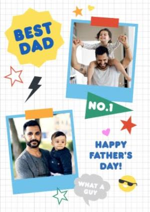 Greeting Cards - Best And Number 1 Dad Multi-Photo Fathers Day Card - Image 1