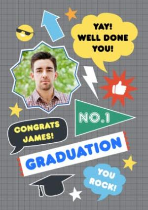 Greeting Cards - Colourful Icons Personalised Graduation Congrats Card - Image 1