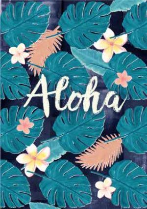 Greeting Cards - Aloha Painted Leaf Print Card - Image 1