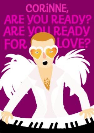 Greeting Cards - Cartoon Elton John Are You Ready For Love Valentine's Day Card - Image 1