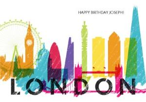 Greeting Cards - Colourful London Skyline Card - Image 1