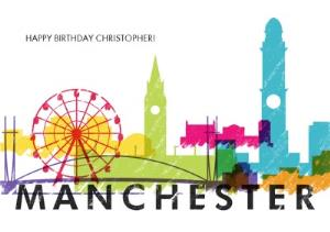 Greeting Cards - Colourful Manchester Skyline Card - Image 1