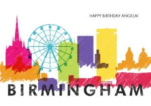 Greeting Cards - Colourful Birmingham Skyline Card - Image 1