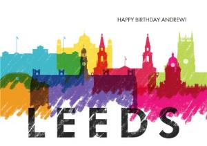 Greeting Cards - Colourful Leeds Skyline Card - Image 1