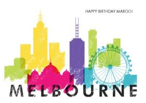 Greeting Cards - Colourful Melbourne Skyline Card - Image 1