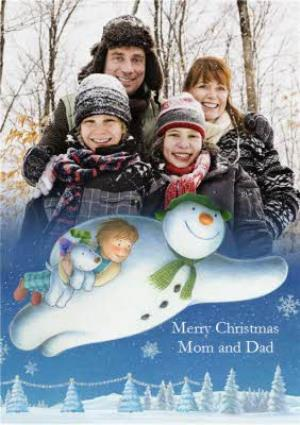 Greeting Cards - The Snowman Merry Christmas Mum And Dad Photo Card - Image 1