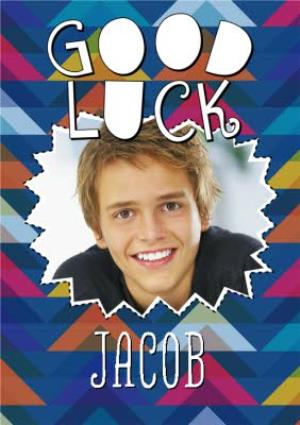 Greeting Cards - Colourful Patterned Personalised Photo Upload Good Luck Card - Image 1