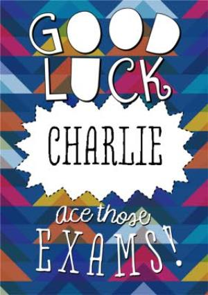 Greeting Cards - Blue, Pink And Yellow Ace Those Exams Personalised Good Luck Card - Image 1