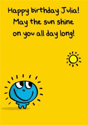 Greeting Cards - May The Sun Shine On You All Day Long Personalised Happy Birthday Card - Image 1