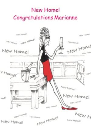 Greeting Cards - Cartoon Champagne Toast On Your New Home Card - Image 1