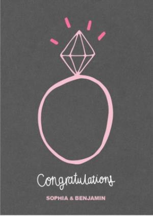 Greeting Cards - Congratulations Engagement Rock Personalised Card - Image 1