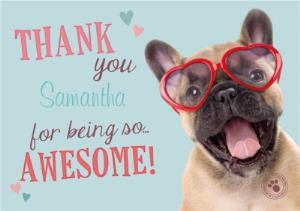 Greeting Cards - Puppy Wearing Heart Glasses Personalised Thank You Card - Image 1