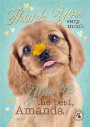 Greeting Cards - Cute Puppy Personalised Thank You Card - Image 1