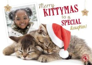 Greeting Cards - Merry Kittymas To A Special Daughter Personalised Photo Upload Christmas Card - Image 1