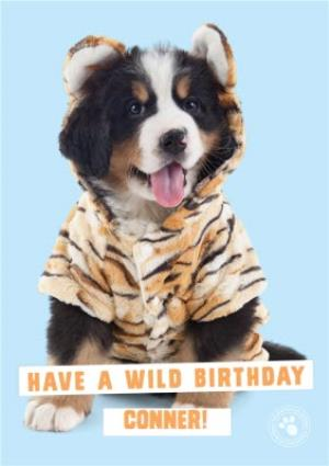 Greeting Cards - Cute dog wearing a onesie - Personalised Birthday Card - Image 1
