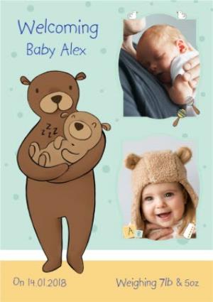 Greeting Cards - Bear Hugs New Baby Photo Card - Image 1