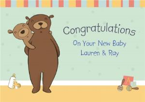 Greeting Cards - Bears In The Nursery Personalised Congrats New Baby Card - Image 1