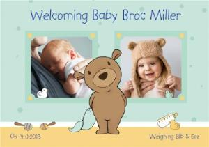 Greeting Cards - Darling Bear New Baby Boy Photo Card - Image 1