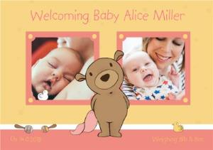 Greeting Cards - Darling Bear New Baby Girl Photo Card - Image 1