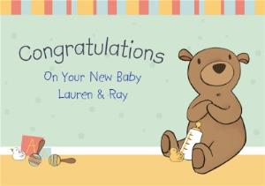 Greeting Cards - Bear In The Nursery Personalised Congrats New Baby Card - Image 1
