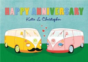 Greeting Cards - Pair Of Vw Camper Vans Personalised Happy Anniversary Card - Image 1