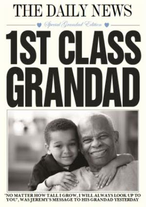 Greeting Cards - 1st Class Grandad Card - Photo Birthday Card For Grandads. - Image 1